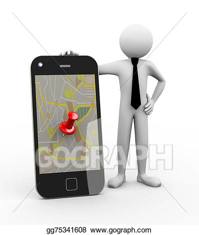 clip black and white stock Gps clipart mobile. D businessman with map