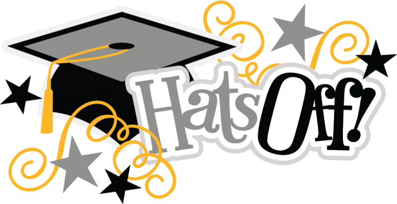 banner black and white library Graduate clipart. Hats off graduation .
