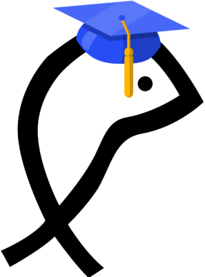 jpg black and white Graduate clipart symbol. Image fish christian clip