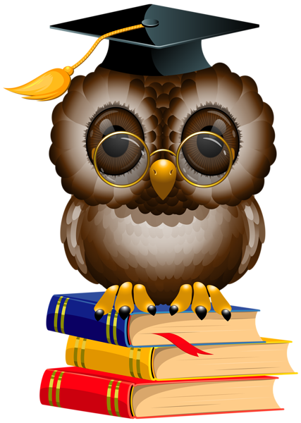 svg black and white library Graduation clipart owl. With school books and