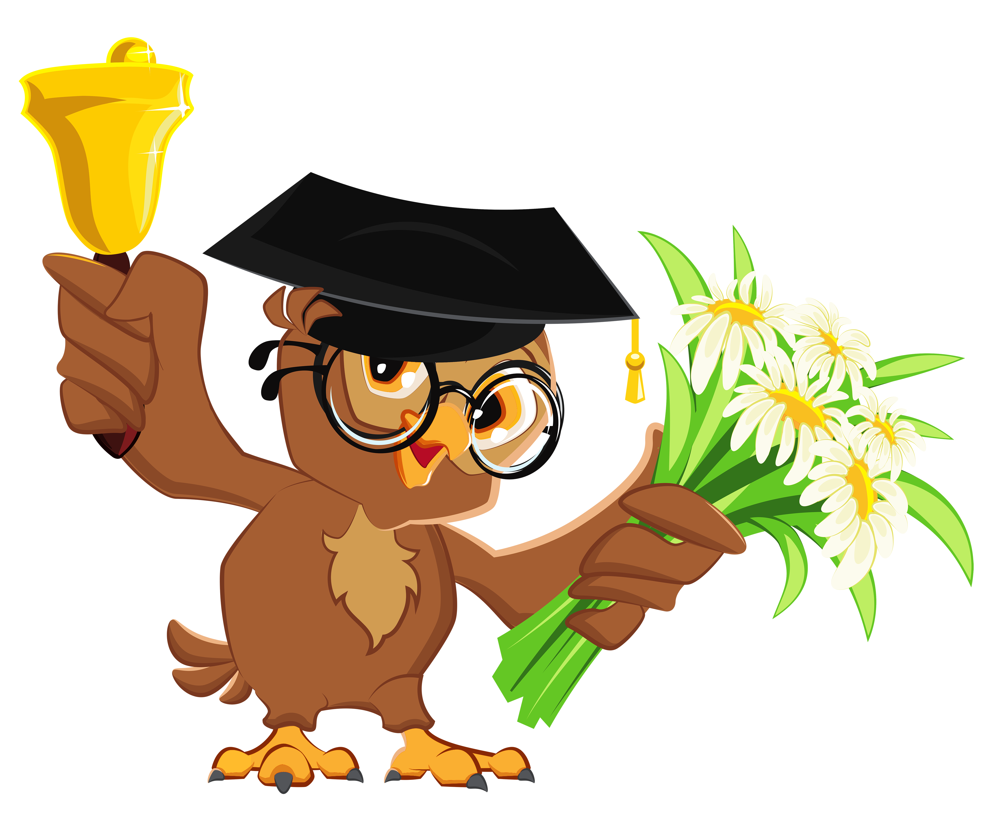 vector free Owl with school bell. Graduation clipart speaker