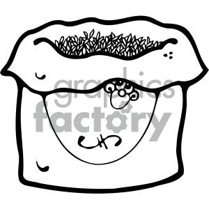 jpg black and white library Vector cartoon of grains. Grain clipart bag grain
