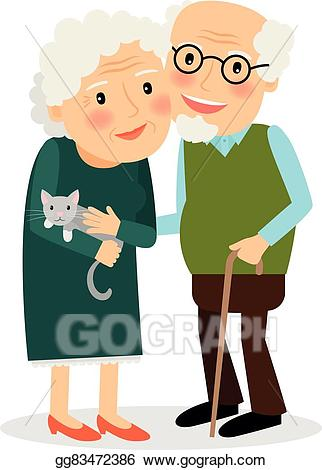 royalty free download Grandfather clipart grandmather. Vector old couple grandmother