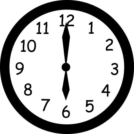 graphic library stock Wall Clock Striking Six O Clock