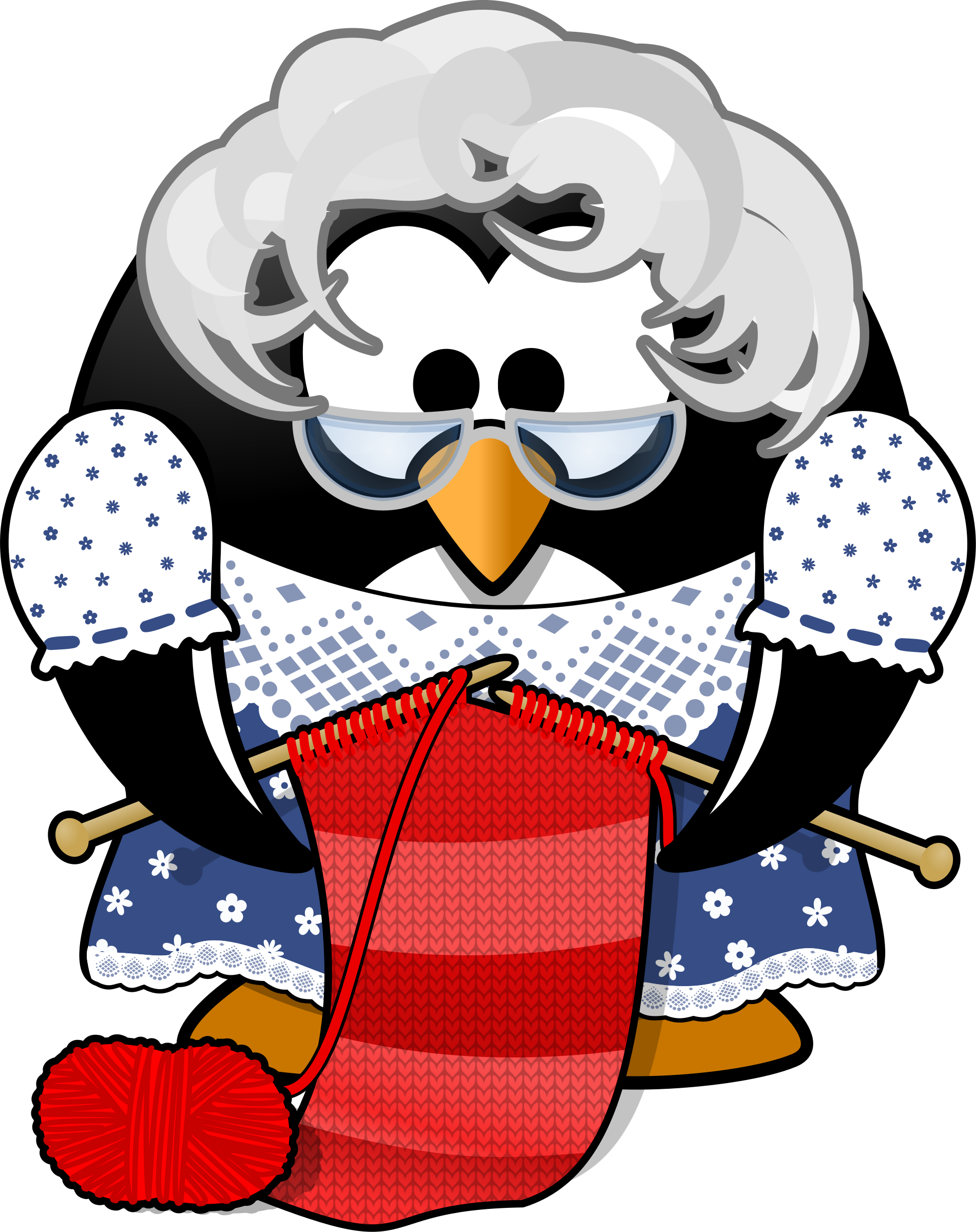 png free library Woman knitting clipart. Grandma penguin