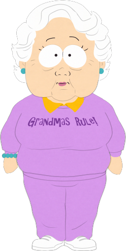 png black and white stock Grandma stotch south park. Grandparent clipart granma