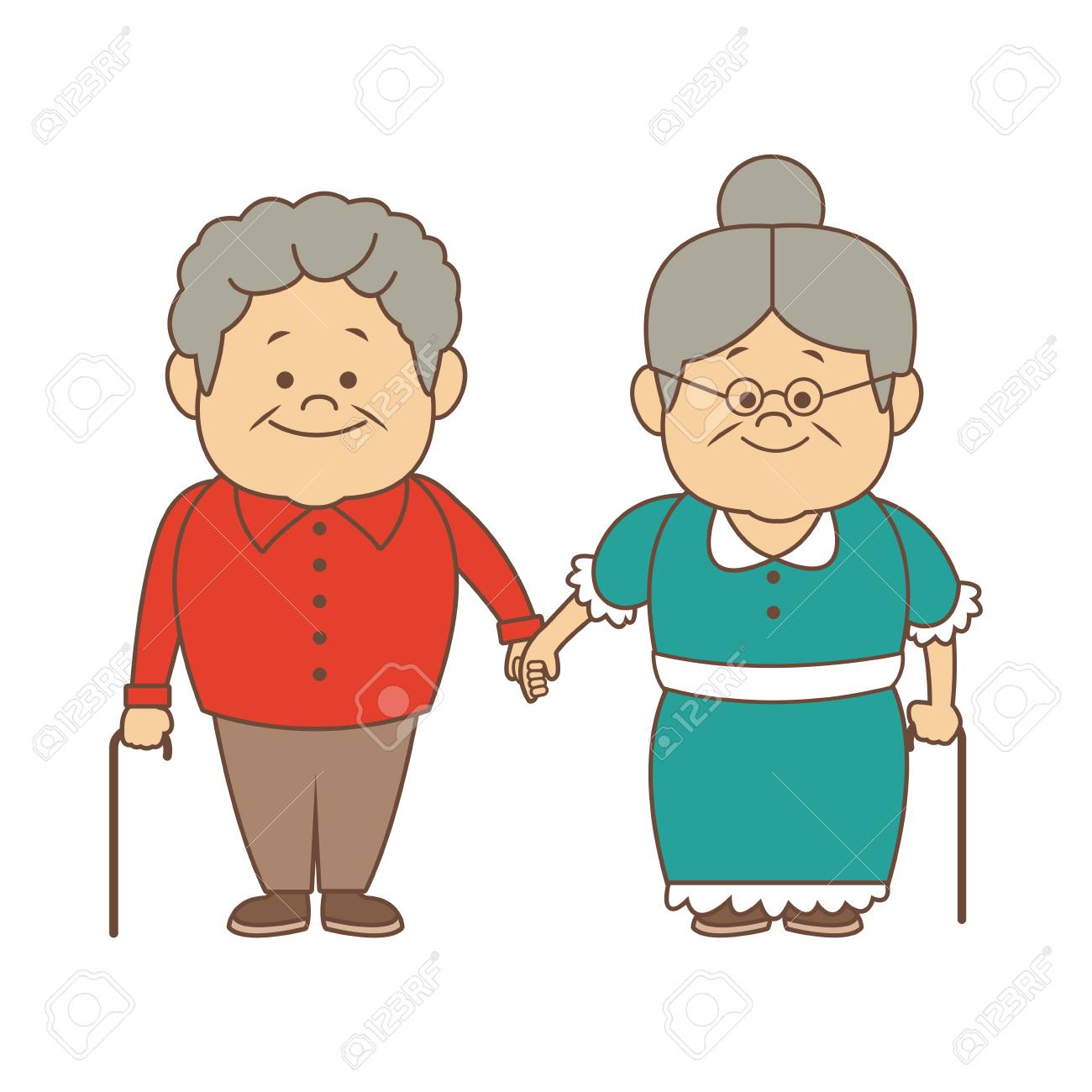 royalty free library Grandparent clipart granma. Happy grandparents holding hands