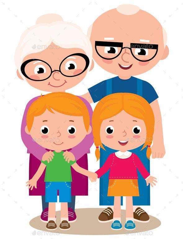 clip freeuse Grandparents and grandchildren faces. Grandparent clipart kid clipart
