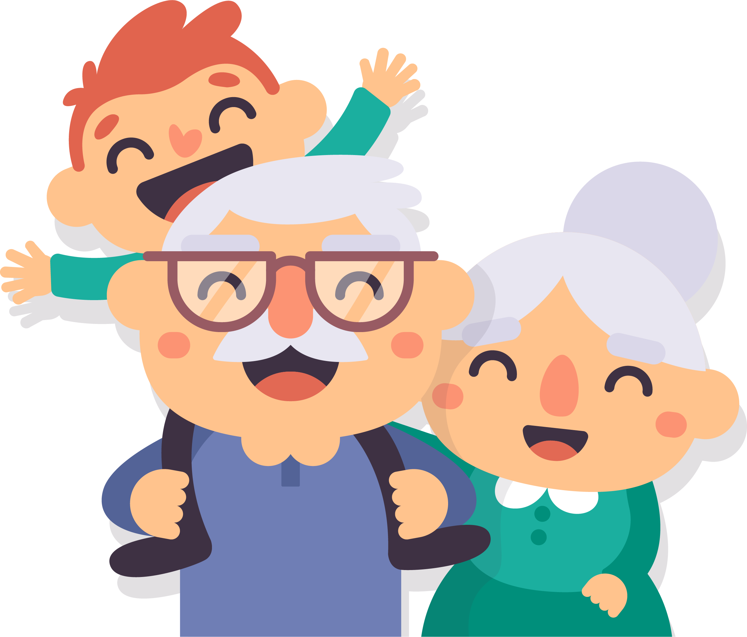 png black and white Grandparent old age happy. Grandparents clipart