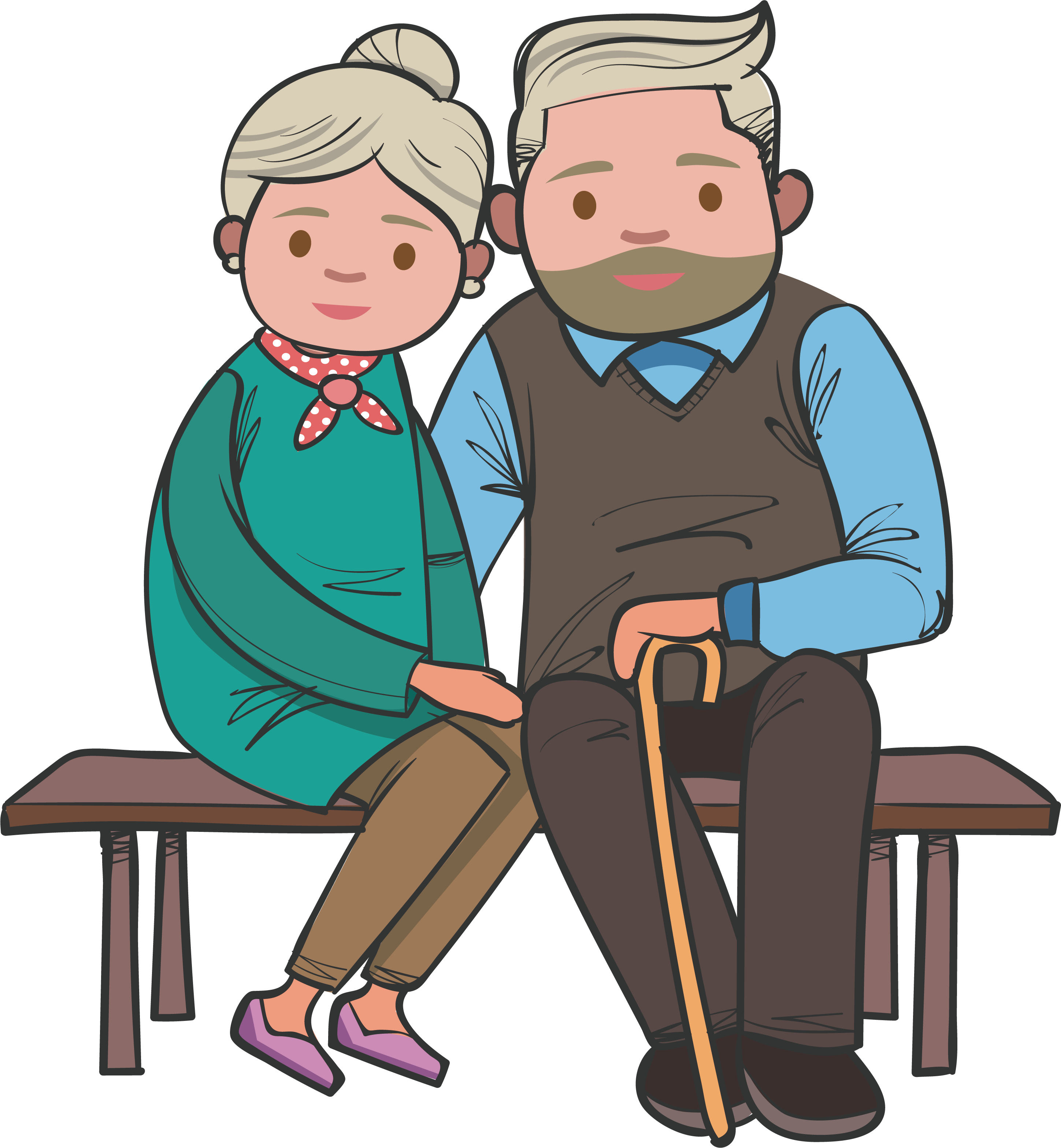 clip free stock Grandparent clipart old age home. Bench the couple sitting