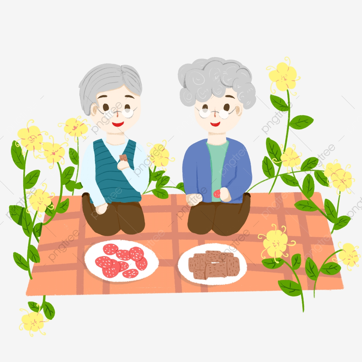 png black and white Double ninth festival grandparents. Grandparent clipart picnic