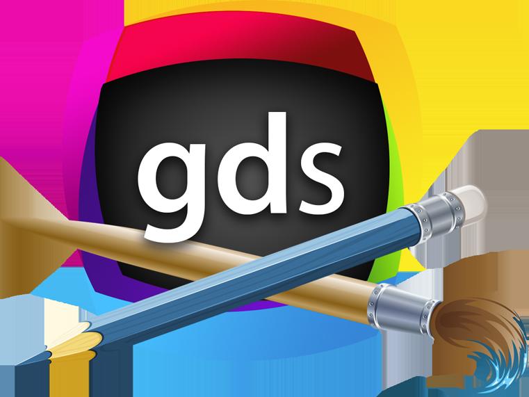 banner royalty free Graphic design studio mac. Vector artist workspace