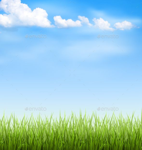 svg freeuse download Green lawn with clouds. Grass and sky background clipart