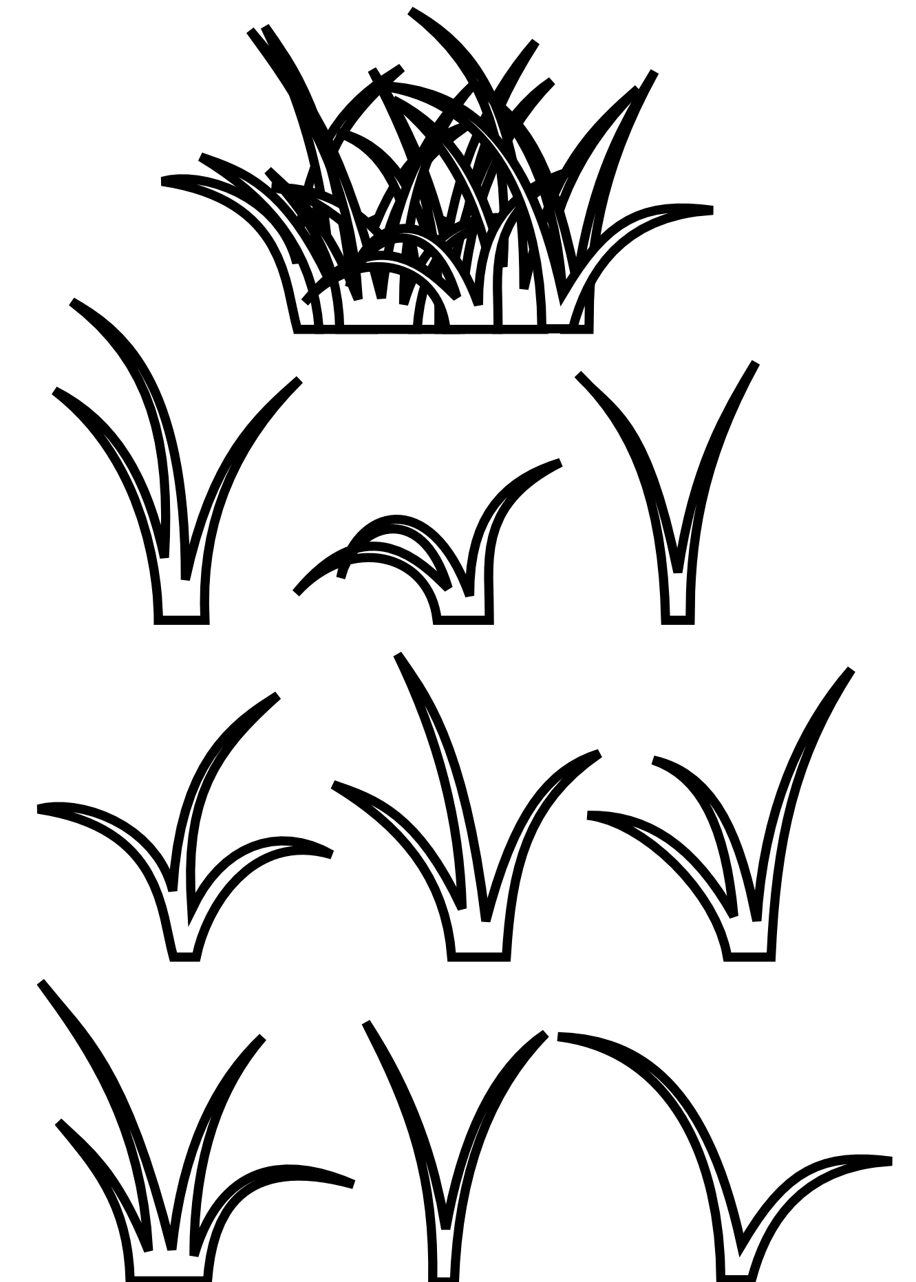 clip art black and white Grass line art scalable. Vector bushes black and white