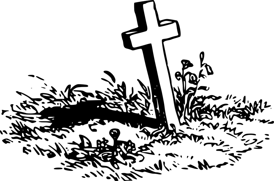 clip library Gravestone clipart. Grave with a cross