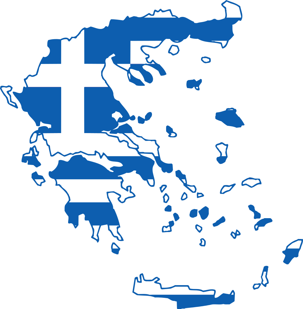 clipart royalty free library Map of Greece in the colors of the Flag of Greece