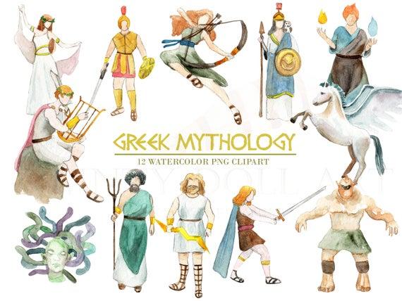 vector black and white Watercolor digital download greece. Greek clipart mythology greek