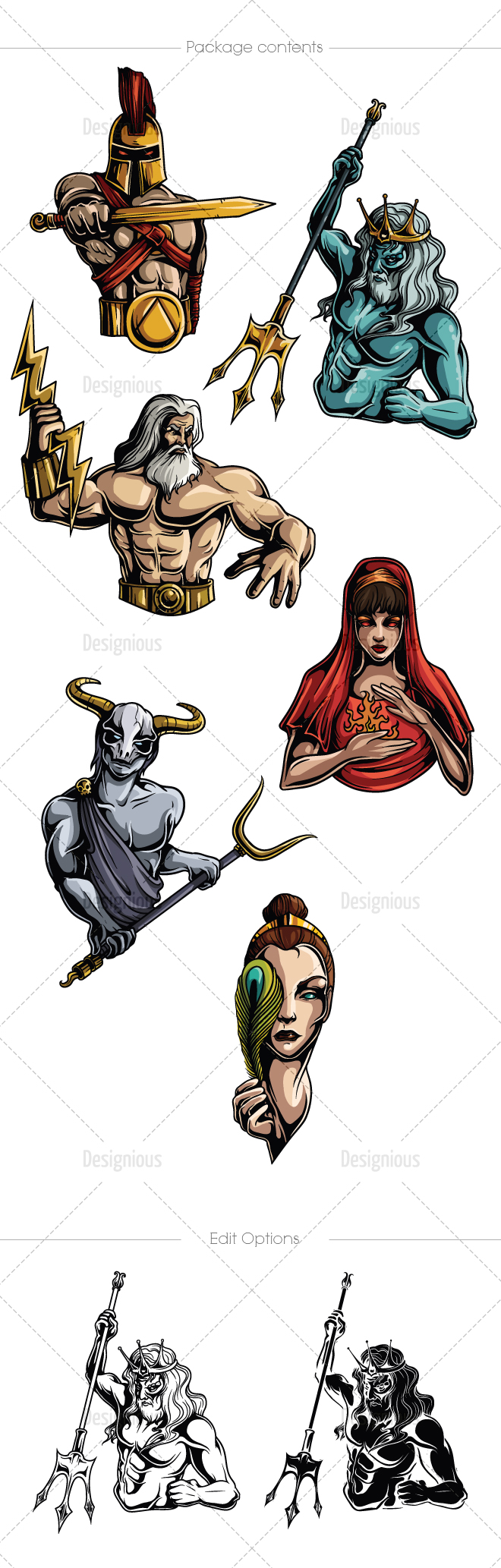 graphic black and white download Mythological olympian gods pack. Greek vector character
