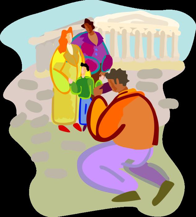 graphic freeuse Tourists visit acropolis parthenon. Greek vector character