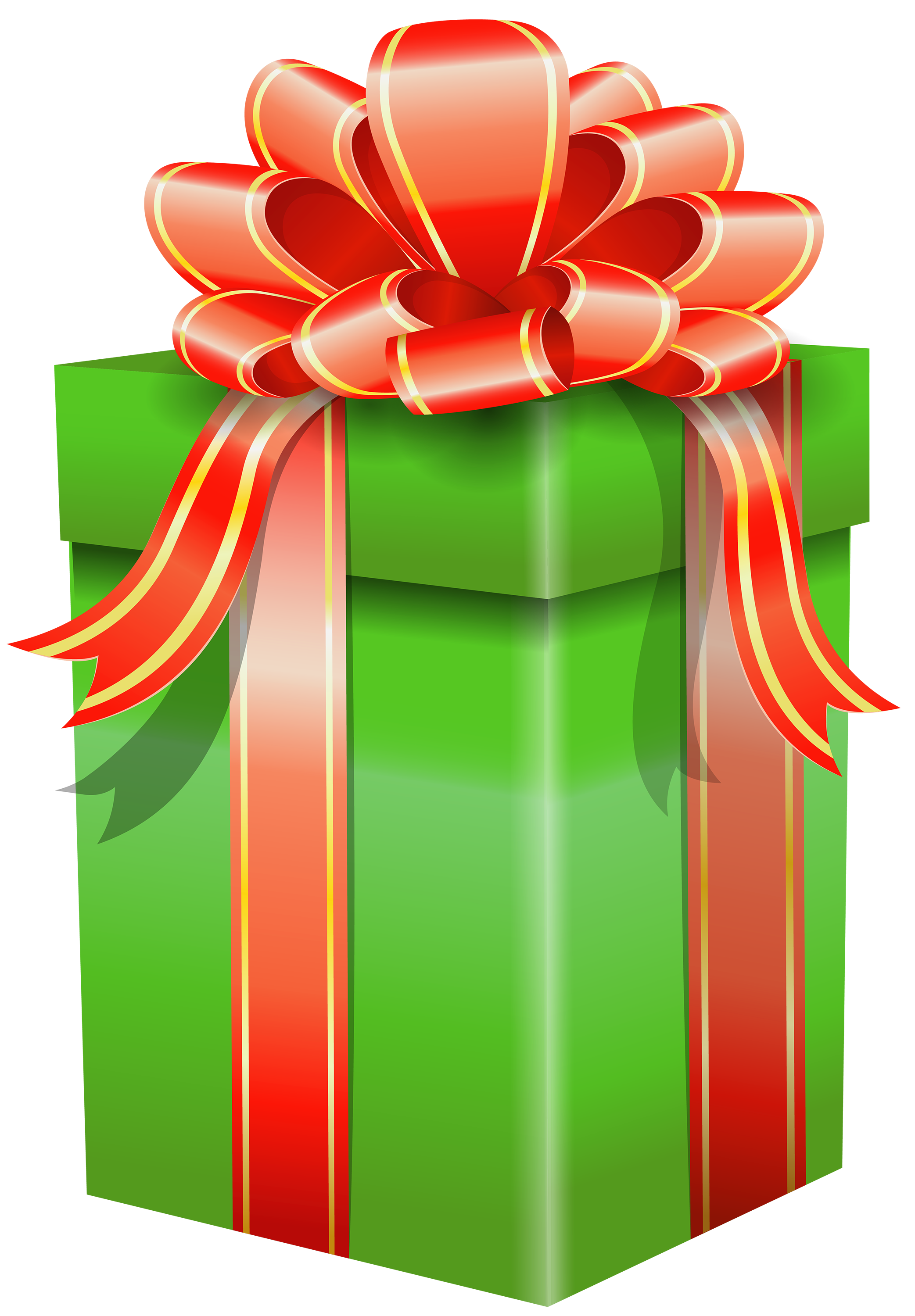 free stock Gift clipart. Green box with red