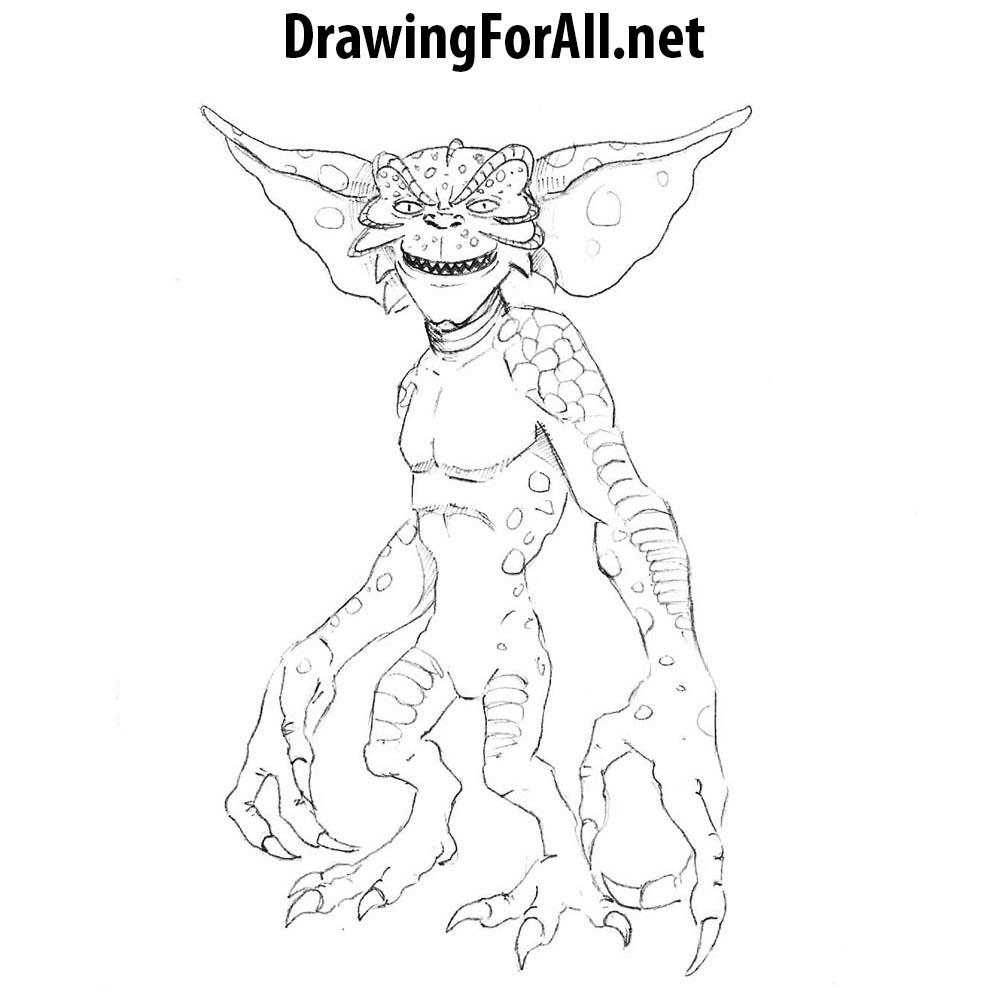 jpg transparent library Gremlin drawing. How to draw a.