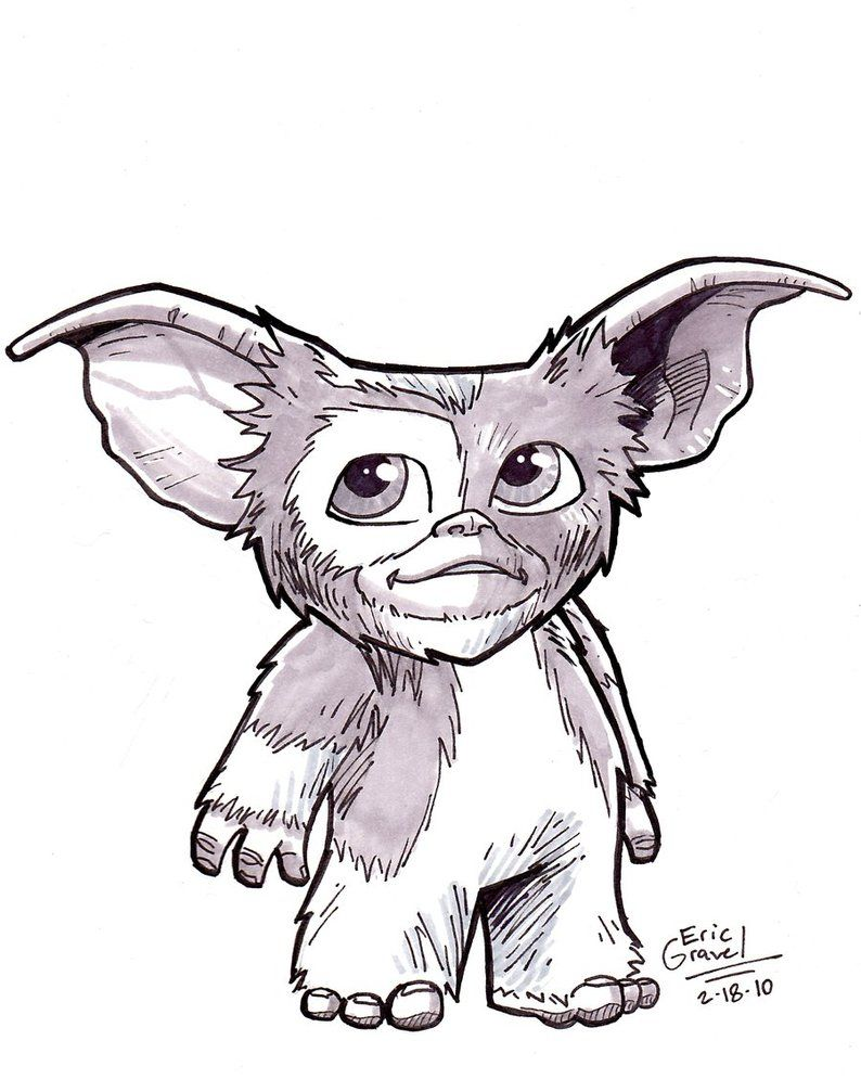 image black and white library Gizmo from gremlins tattoo. Gremlin drawing.