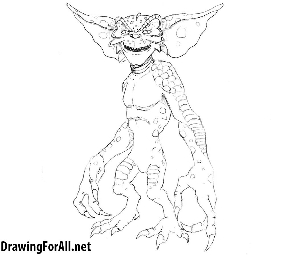 jpg transparent library How to draw a. Gremlin drawing.