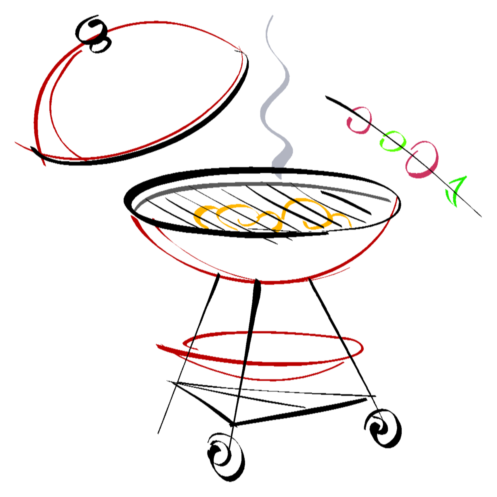 banner library download Bbq drawing at getdrawings. Grill clipart drawn