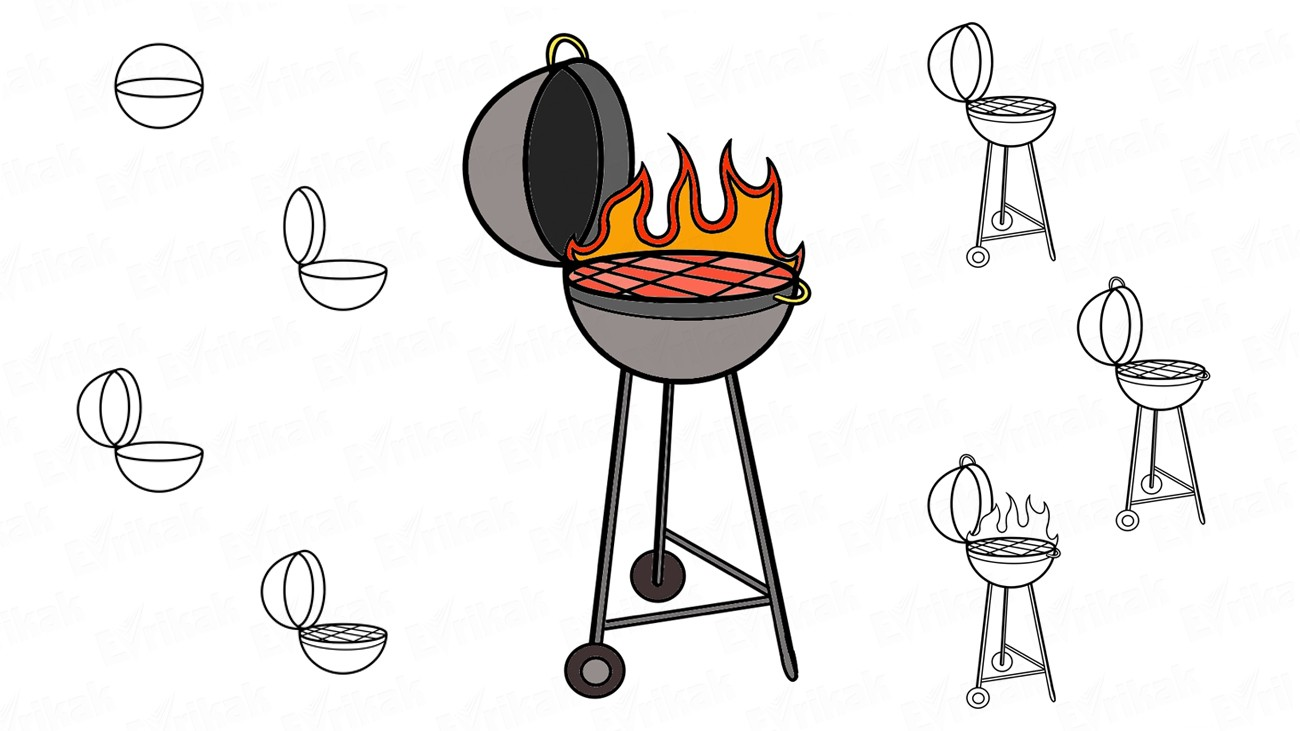 vector black and white download How to draw a. Grill drawing