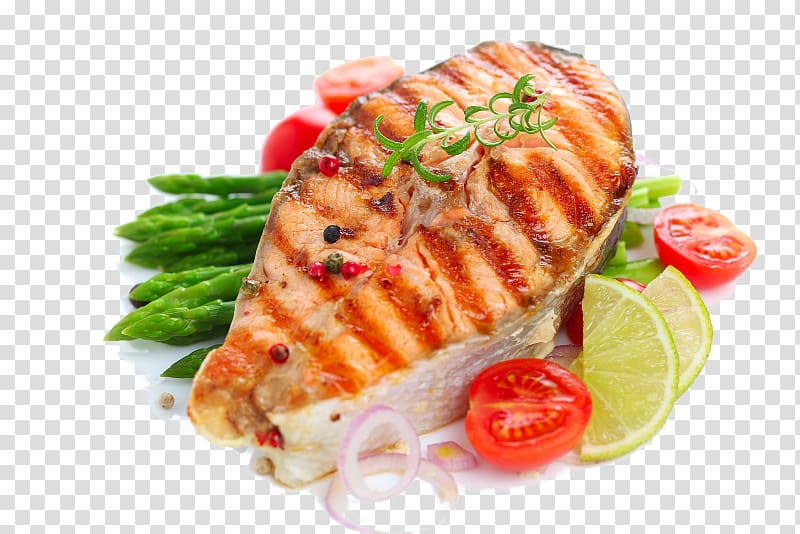 black and white stock Fish with asparagus barbecue. Salmon transparent cooked