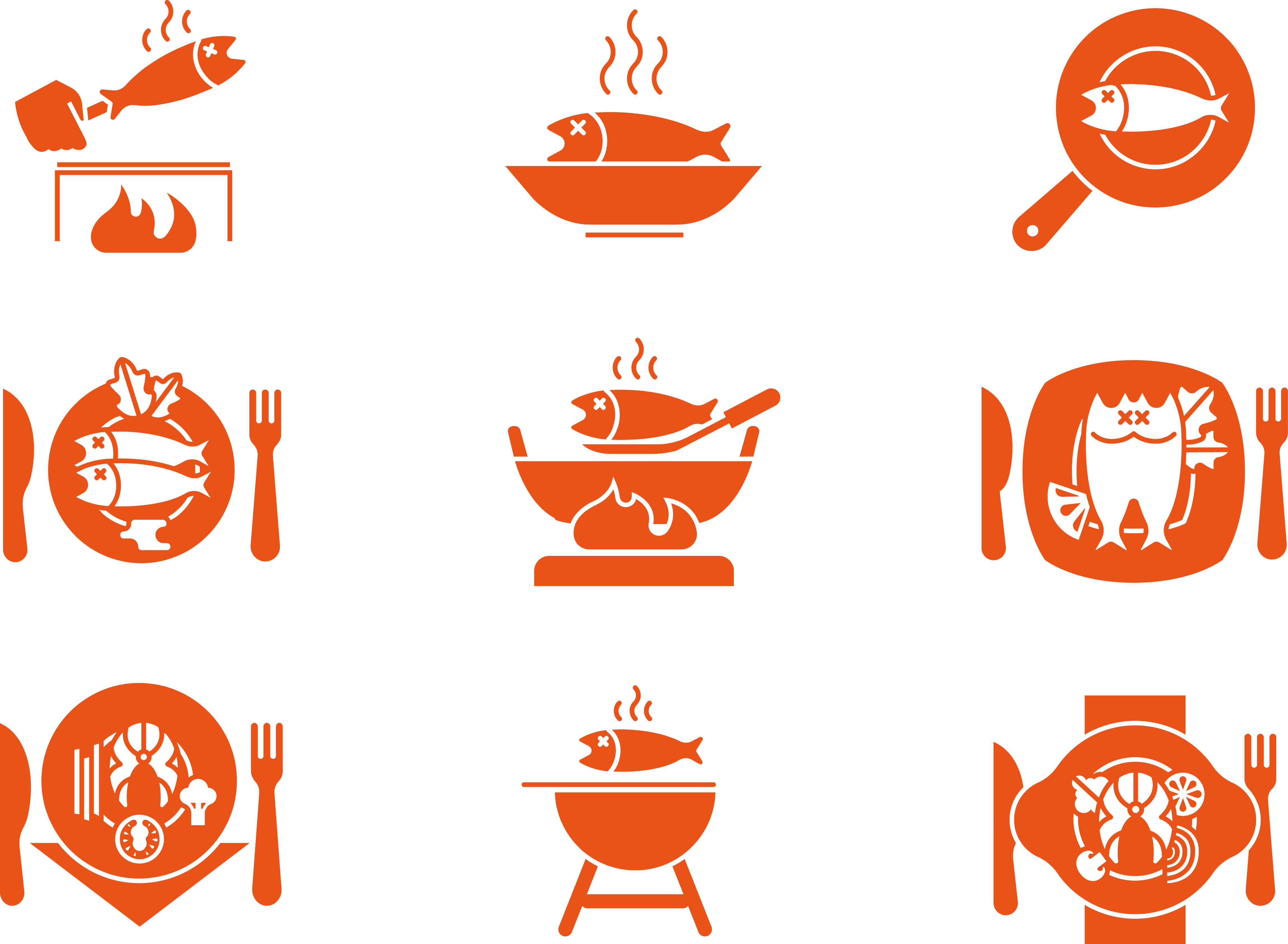 picture freeuse Grilled clipart roasted fish. Barbecue grill frying icon