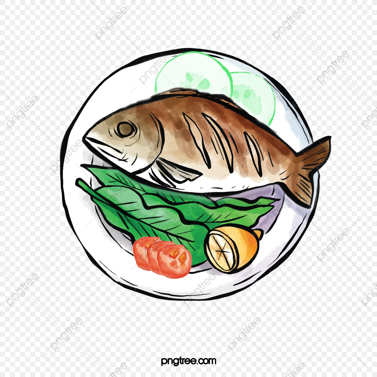 picture freeuse download Grilled clipart roasted fish. A whole cucumber plate