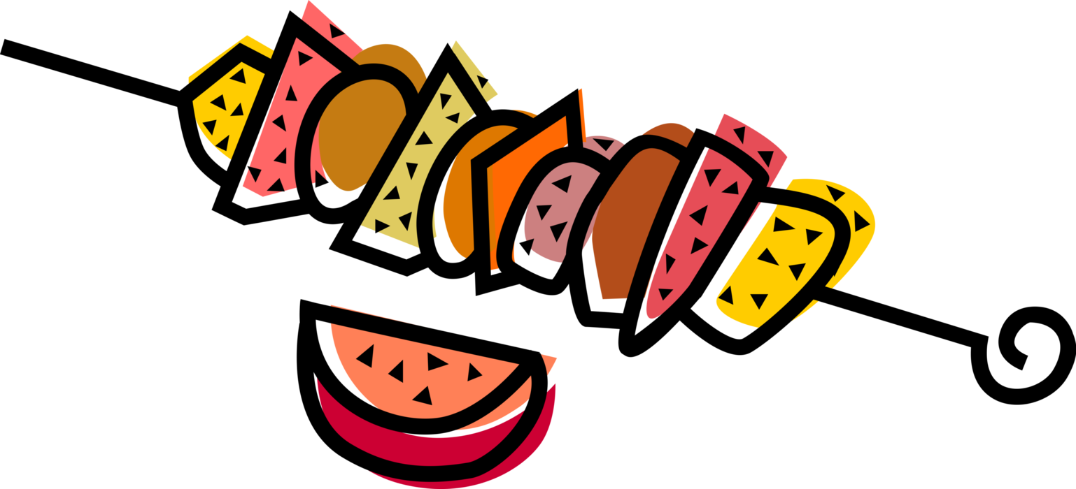 graphic library stock Skewer vector image illustration. Grilled clipart shish kebab