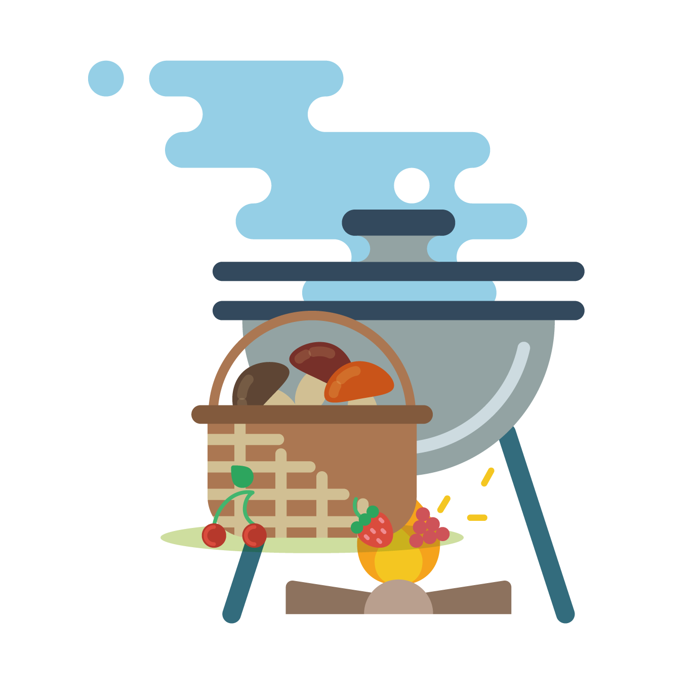 vector freeuse download Grilling clipart camp food. Camping barbecue grill clip