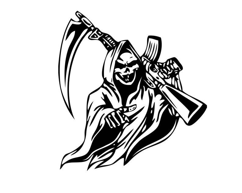 banner black and white library Grim reaper clipart killer. Transparent
