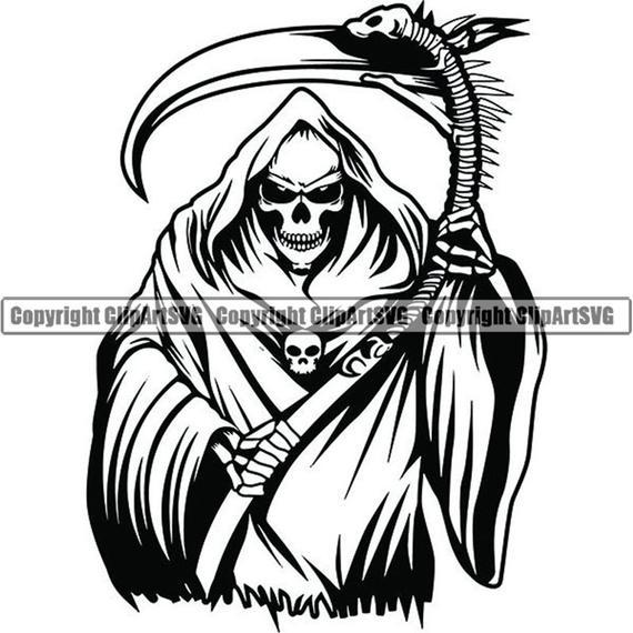 picture library library Skull death sickle evil. Grim reaper clipart killer