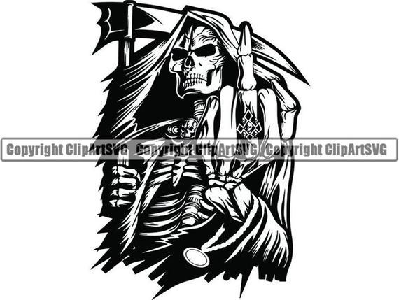 svg library Middle finger skull death. Grim reaper clipart killer