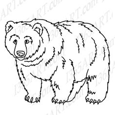 jpg library library  clipartlook. Grizzly bear clipart black and white