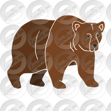 vector royalty free Stencil for classroom therapy. Grizzly bear clipart