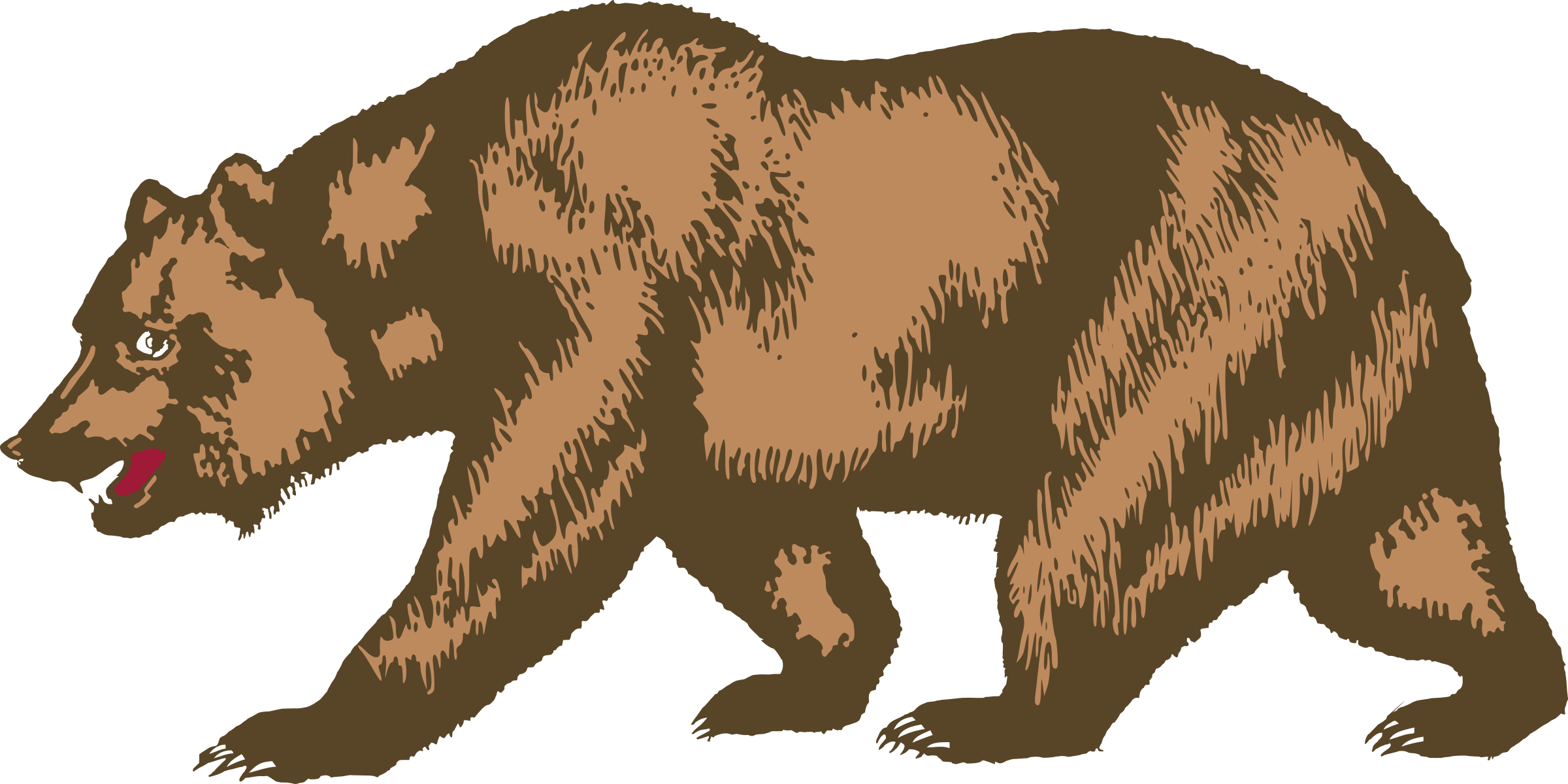vector black and white download  collection of california. Grizzly clipart bear cali