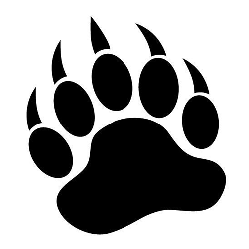 jpg royalty free library Grizzly clipart bear footprint. Paw die cut vinyl