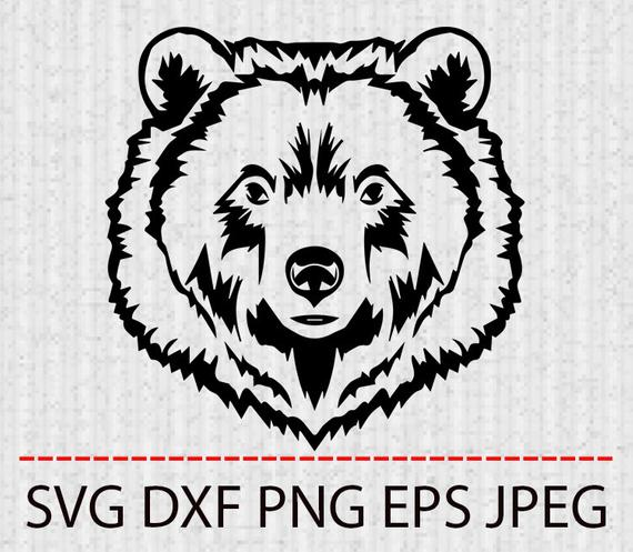 svg black and white Grizzly clipart bear tattoo. Svg head vector layered