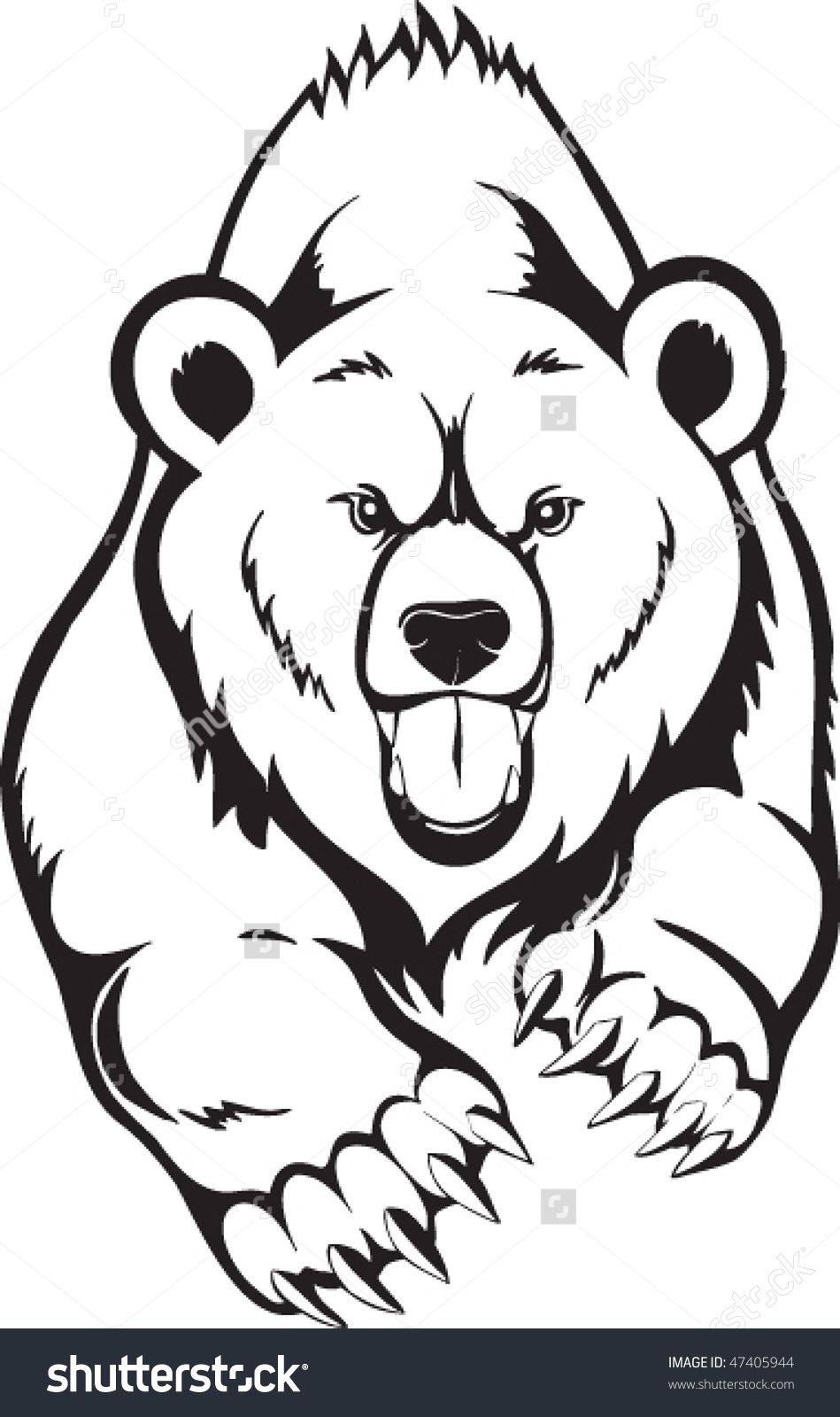 svg black and white Grizzly clipart bear tattoo. Related image alaska trip