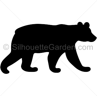 royalty free library Grizzly clipart bear tattoo. Black silhouette clip art