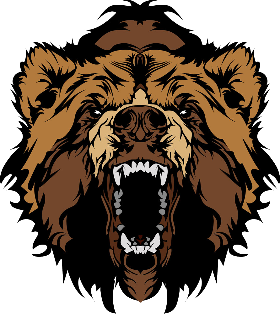 png free Bear clip art roaring. Grizzly clipart transparent