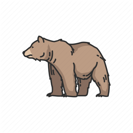 vector transparent library Grizzly clipart wild bear.  mammals colored by