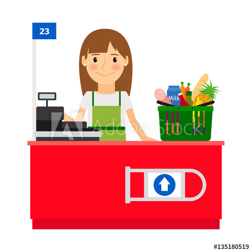 banner transparent Supermarket clipart cashier. Grocery shopping