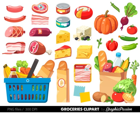 clipart free Grocery clipart. Shopping food dinner cheese