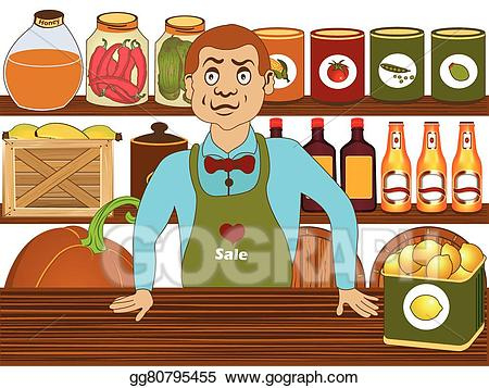 clip art black and white stock Vector art grocery store. Supermarket clipart shop keeper