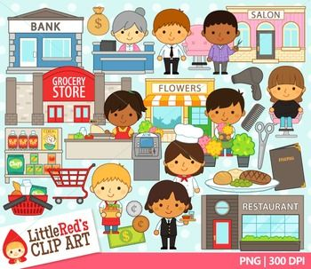 image transparent library Supermarket clipart shop keeper. Shopkeepers cute cliparts set.